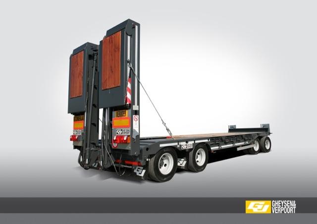 Remorque porte engins quatre essieux 40 tonnes gheysen for Porte engin 60 tonnes
