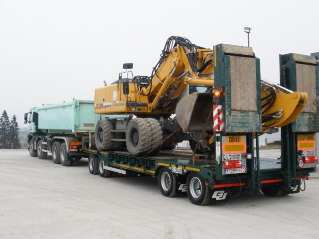 Remorque porte engins 40 tonnes quatre essieux avec ou for Porte engin 60 tonnes
