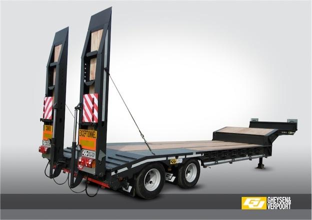 Oplegger twee assen 36 ton constructie gheysen verpoort for Porte engin 60 tonnes